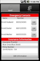 Screenshot of Emergency Information ICE Plus