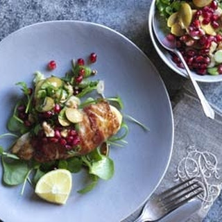 Pheasant With Walnut, Green Olive And Pomegranate Relish.