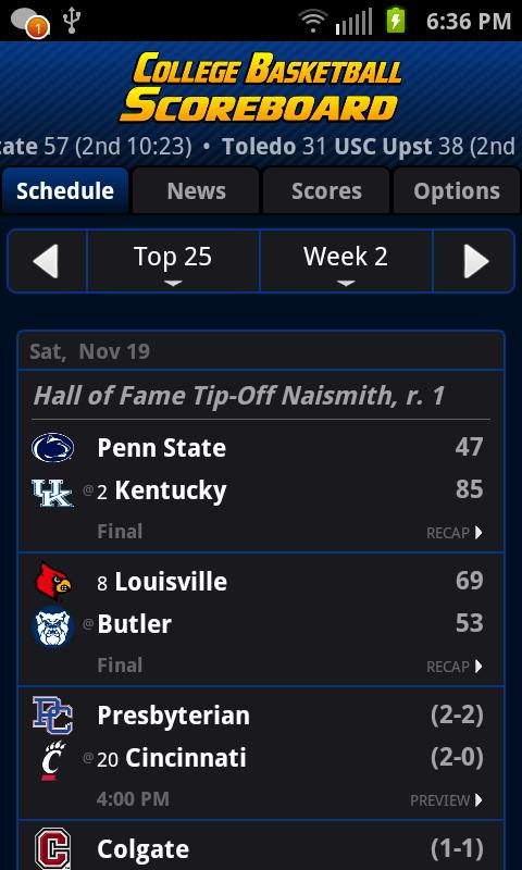 College Basketball Scoreboard+- screenshot