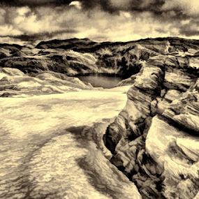 Turn right by Fredrik A. Kaada - Mixed Media All Mixed Media ( water, sepia, texture, stone, rock, pixels, digital, photography, artwork, contrast, sky, nature, snow, dramatic, hard )