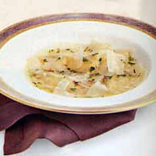 Butternut Squash Ravioli in Cider Broth.