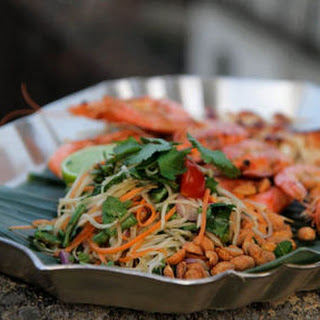 Spicy Shrimp Kebabs and Papaya Salad