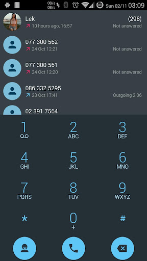 Dialer theme Droid L Blue