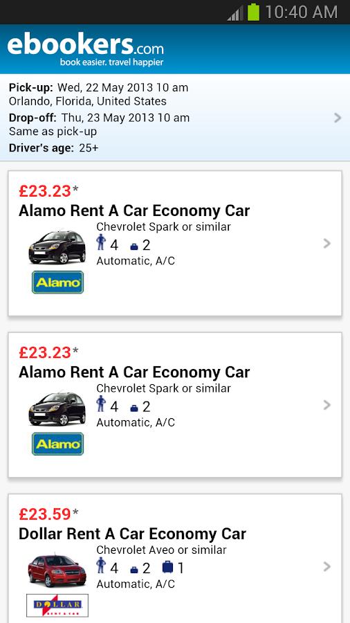 Ebookers Hotel Flights Cars Screenshot