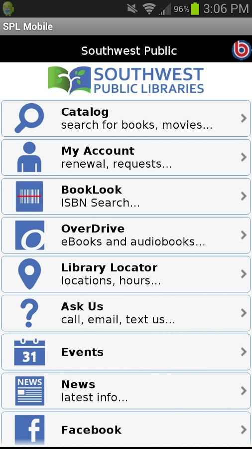 Southwest Public Libraries - screenshot