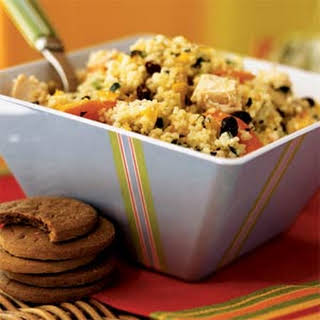 Couscous Salad with Chicken and Chopped Vegetables.