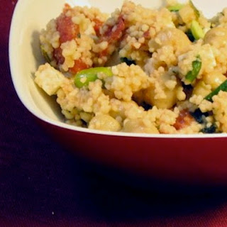 Couscous with Chickpeas, Tomato, and Edamame