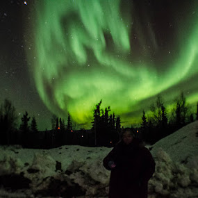 Me and My Dragon  by Rebecca Weatherford - Landscapes Starscapes ( northern lights, aurora, aurora borealis, self portrait, night, nikon, nightscape )