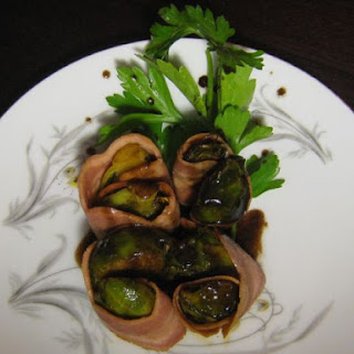 Turkey Bacon Wrapped Seared Brussels Sprouts with a Red Wine Reduction
