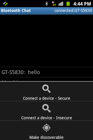 Bluetooth Chat Simple - screenshot