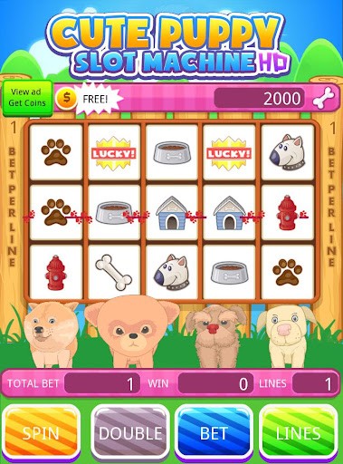 Cute Puppy Slot Machine HD Screen Capture 3