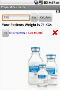 Propofol Calculator - screenshot thumbnail