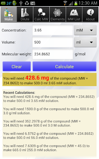 Solution Calculator Lite