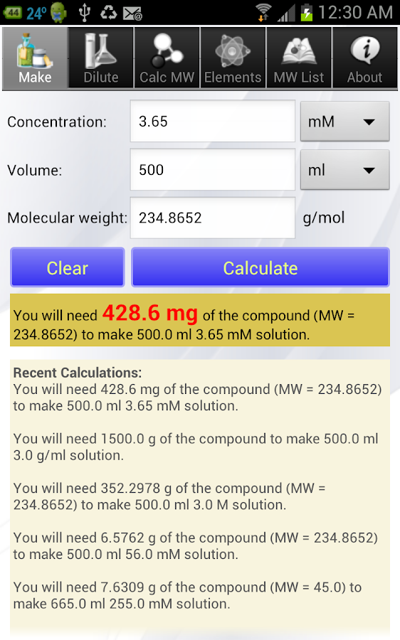 Solution Calculator Lite- screenshot