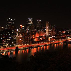 Pittsburgh Skyline at Night by Rhonda Silverton - City,  Street & Park  Night ( lights, skyline, grandview avenue, pittsburgh, night, , Lighting, moods, mood lighting )
