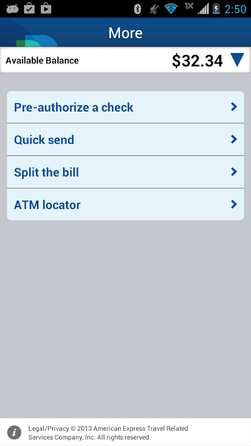 Bluebird by American Express - screenshot