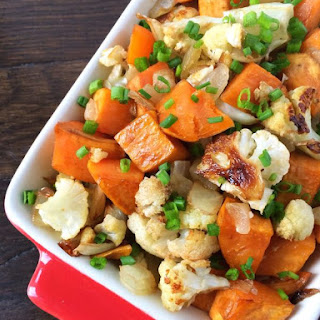 Balsamic Roasted Sweet Potatoes, Cauliflower & Onions.
