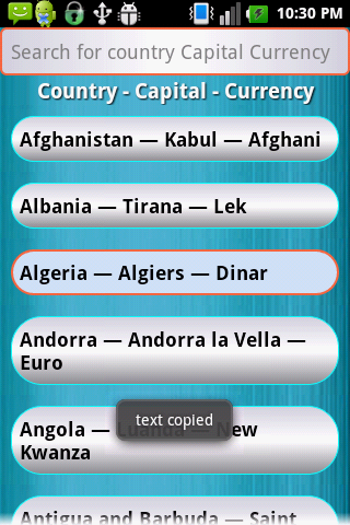 Country Capital Currency- screenshot
