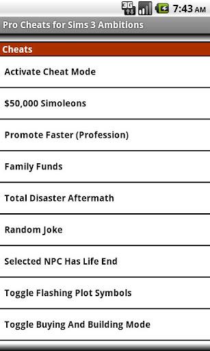 Pro Cheats - Sims 3 Ambitions