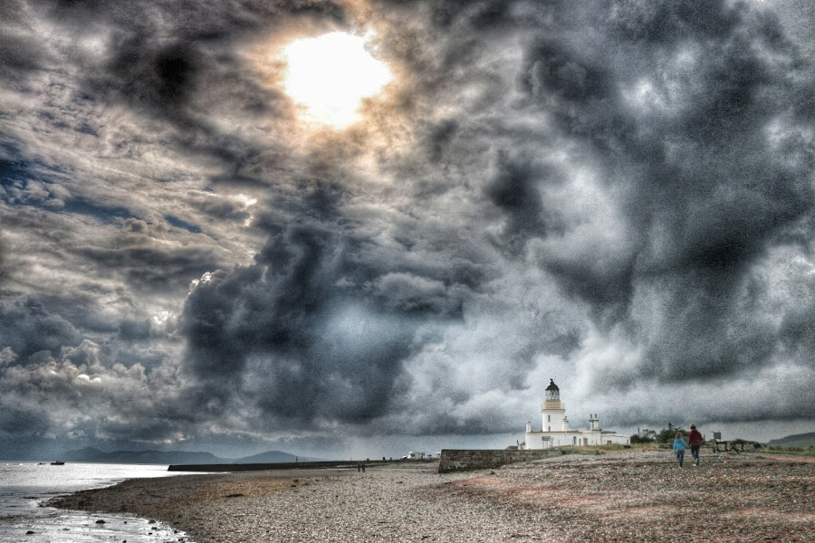 Clouds and the lighthouse by Axel K. Böttcher - Landscapes Weather ( clouds, dramatic, lighthouse, beach, sun )