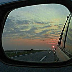 Sunset behind Us by Nat Bolfan-Stosic - Landscapes Sunsets & Sunrises ( red, sky, sunset, behind, car mirror )