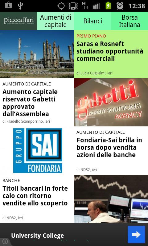 News finanza e borsa italiana - screenshot