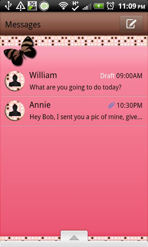 GO SMS - Polkadot Butterfly 5- screenshot