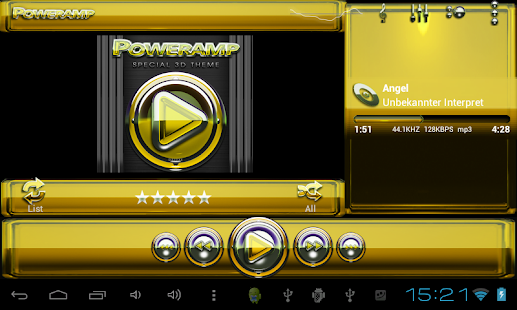 Poweramp skin Yellow Glas luxe Screenshot