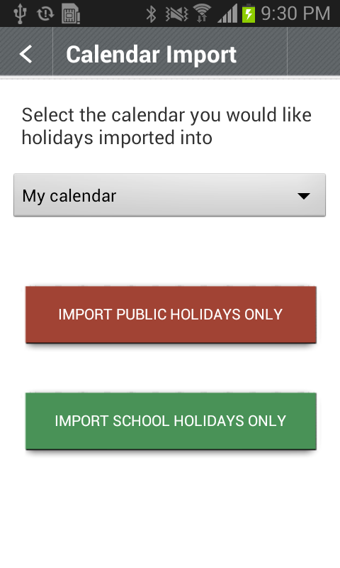 Australian Public Holidays - screenshot