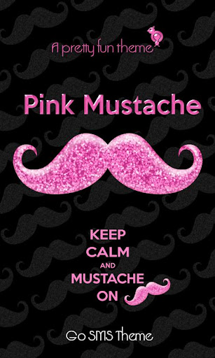 Pink Mustache Theme GO SMS