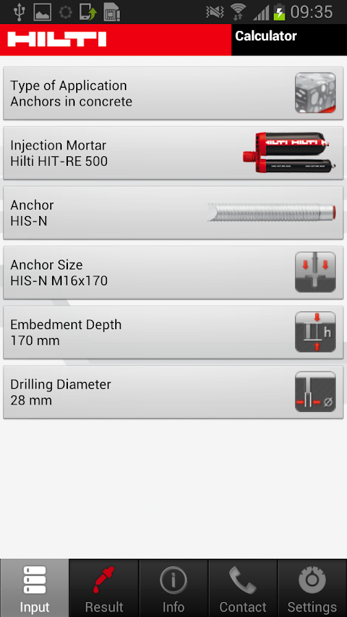Hilti Volume Calculator- screenshot