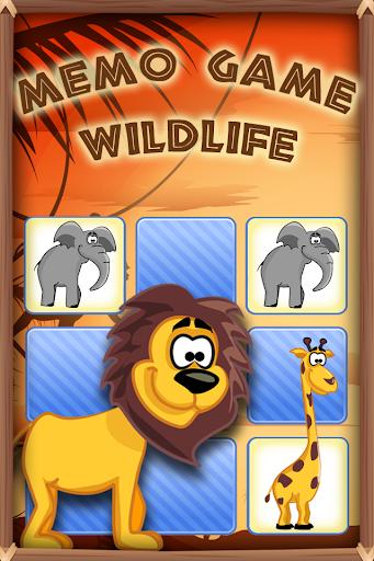 Memo Game Wild Animals Cartoon