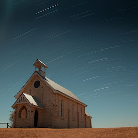Church by Callum Harris - Landscapes Starscapes ( startrail, church, star, night, photo )
