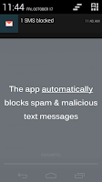Screenshot of SMS Blocker. Clean Inbox