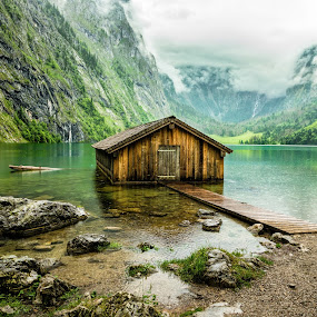 Boathouse on Obersee  by Mladen Bozickovic - Landscapes Travel ( obersee, mountain, nature, wood, lake, germany, house, architecture, landscape / travel, alps )