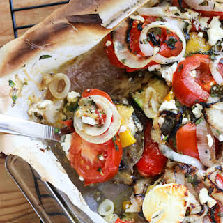 Zucchini and Eggplant Bake with Goat Cheese and Herbs.