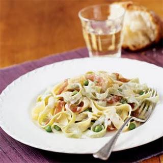 Fettuccine Alfredo with Peas and Prosciutto.