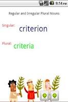 Screenshot of Grammar - Singular Plural