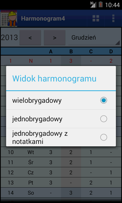 Harmonogram pracy- screenshot