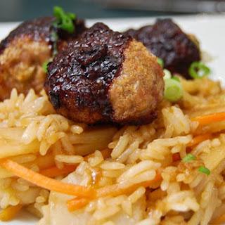 Asian Meatballs w/ Fried Rice.