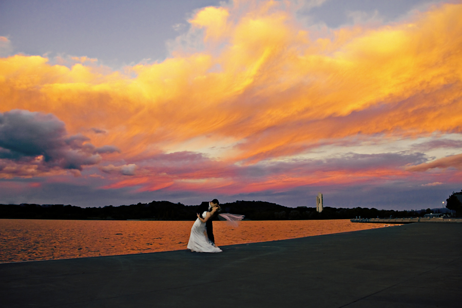 Sunset - Canberra ACT by Alan Evans - Wedding Bride & Groom ( wedding photography, carillion, waterscape, sunset, wedding day, wedding, aj photography, canberra, bride and groom,  )