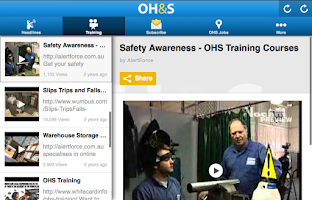 Screenshot of Occupational Health and Safety