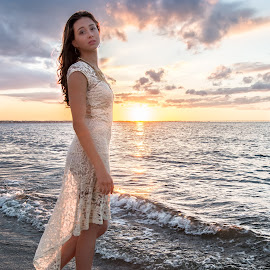 Lonely Sunset  by Quisha McElroy - Novices Only Portraits & People ( model, sky, sunset, waves, beautiful, beach )