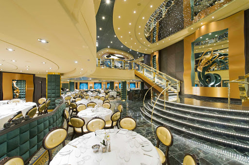 MSC-Preziosa-Golden-Lobster-Restaurant - The two-levels of the Golden Lobster restaurant on MSC Preziosa are linked by a sweeping staircase.