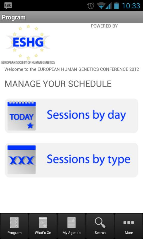 ESHG 2012 Conference - screenshot