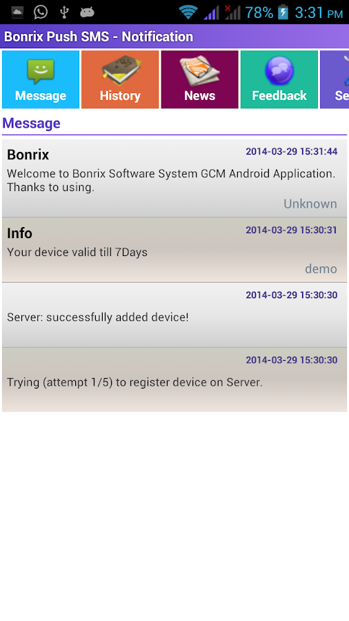 Bonrix Push SMS - Notification- screenshot