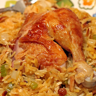 Roasted Chicken with Saffron Rice, Vegetables