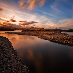 Warm Stream by Gabriele Copez - Landscapes Waterscapes ( stream, sardegna, sunset, flow, italy, golden )