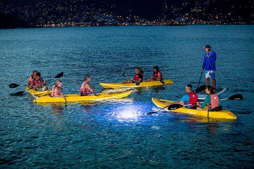 night-kayak-adventure-center-st-thomas-US-Virgin-Islands - Enjoy a sunset paddle out to Pirate Point in a kayak excursion from the Adventure Center on St. Thomas.