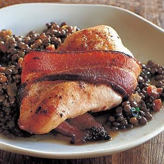 Bacon-Wrapped Chicken Breasts with Warm Lentil Salad.